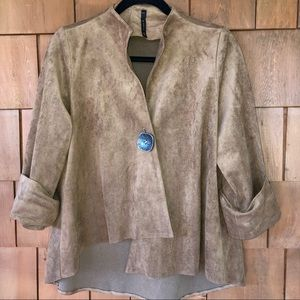 Used, IC Collection Brown Faux Suede Drape Front Jacket for sale